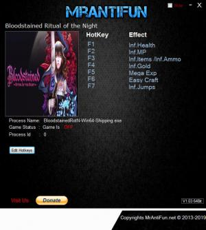 Bloodstained: Ritual of the Night Trainer for PC game version v1.00