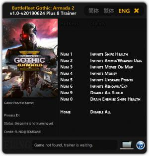 Battlefleet Gothic: Armada 2 Trainer for PC game version v24.06.2019