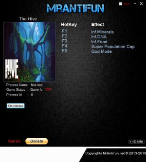 The Hive Trainer for PC game version v1.104