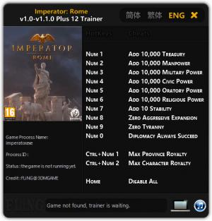 Imperator: Rome Trainer +12 v1.1.0 {FLiNG}