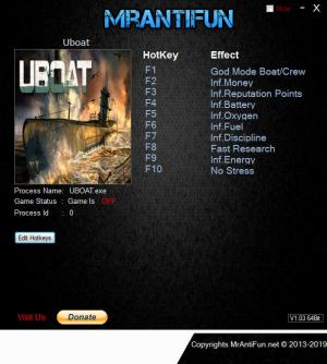 Uboat Trainer for PC game version B121