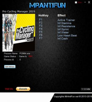 Pro Cycling Manager 2019 Trainer for PC game version v1.0.2.3