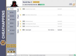 World War Z Trainer for PC game version v0.1.DEV.4792705/4792705