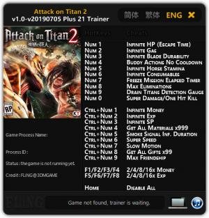 Attack on Titan 2 Trainer +21 v05.07.2019 {FLiNG}