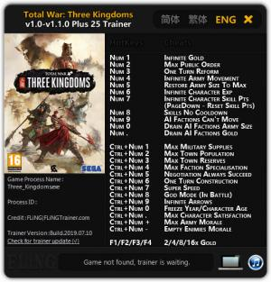 Total War: THREE KINGDOMS Trainer for PC game version v1.1.0
