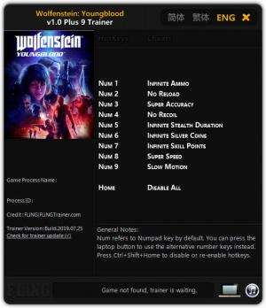 Wolfenstein: Youngblood Trainer +9 v1.0 {FLiNG}