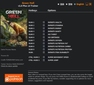 Green Hell Trainer for PC game version v1.0
