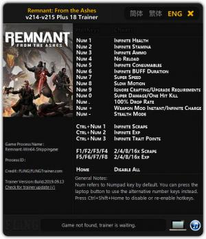 Remnant: From the Ashes Trainer +18 v215 {FLiNG}