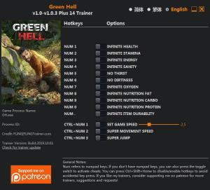 Green Hell Trainer for PC game version  v1.0.3