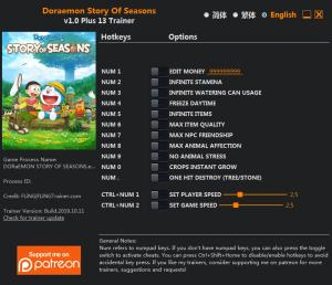 Doraemon Story Of Seasons Trainer +13 v1.0 {FLiNG}