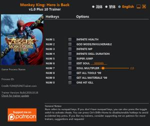 MONKEY KING: HERO IS BACK Trainer for PC game version v1.0