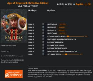 Age of Empires II: Definitive Edition Trainer +11 v1.0 {FLiNG}