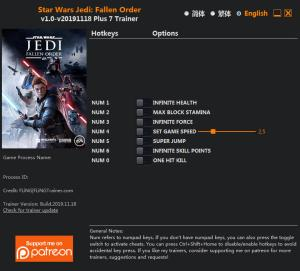 Star Wars Jedi: Fallen Order Trainer +7 v18.11.2019 {FLiNG}