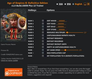 Age of Empires II: Definitive Edition Trainer for PC game version v1.0 Build 33059