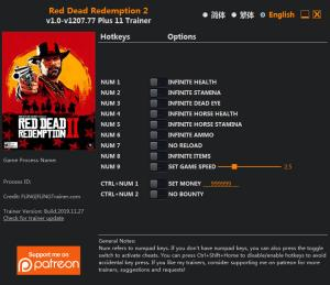 Red Dead Redemption 2 Trainer for PC game version v1207.77