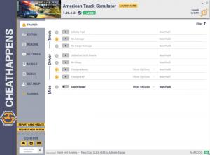 American Truck Simulator Trainer for PC game version v1.36.1.3 64bit
