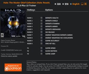Halo: The Master Chief Collection Trainer for PC game version v1.0