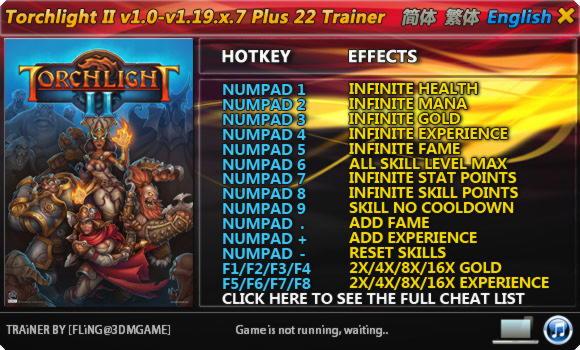 Torchlight 2 Trainer +22 v1.19.x.7 FLiNG - download cheats ...