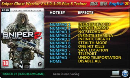Sniper: Ghost Warrior 2 Trainer +8 v1.0 / 1.3 {FLiNG}