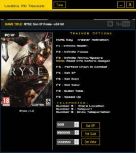 Ryse: Son Of Rome Trainer +11 v1.0 {LinGon}