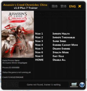 Assassin's Creed Chronicles: China Trainer +7 v1.0 {FLiNG}