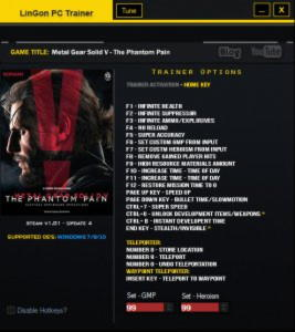 Metal Gear Solid V: The Phantom Pain Trainer  +21 v1.01 Update4 {LinGon}
