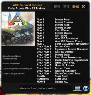 ARK: Survival Evolved Trainer +23 Early Access: 17.01.2016 {FLiNG}