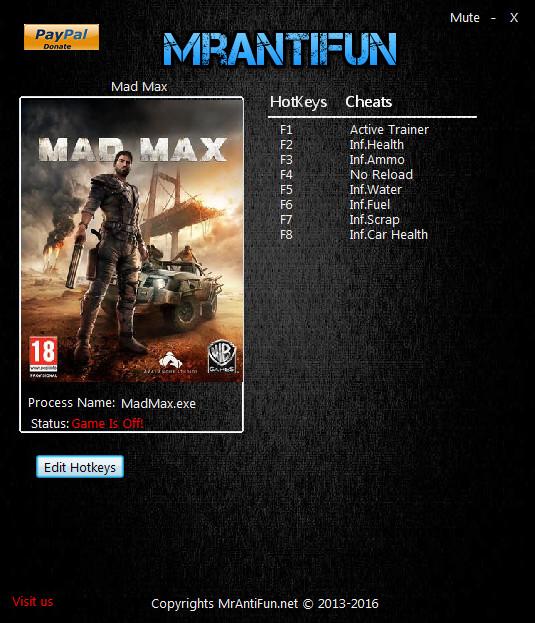 Mad Max Trainer +7 v1.0.3.0 MrAntiFun - download cheats ...