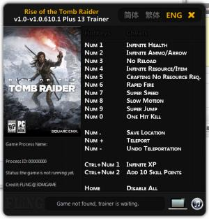 Rise of the Tomb Raider Trainer +13 v1.0 - 1.0.610.1 {FLiNG}