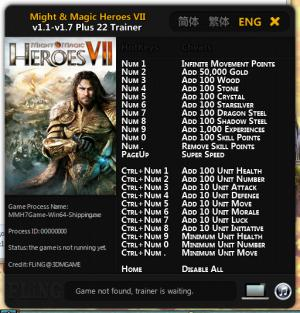 Might and Magic Heroes 7 Trainer +22 v1.1 - v.1.7 : 64 Bit {FLiNG}