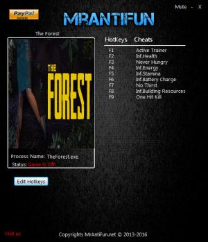 The Forest Trainer +9 v0.33d {MrAntiFun}