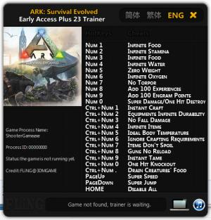 ARK: Survival Evolved Trainer +23 Early Access: 22.02.2016 {FLiNG}