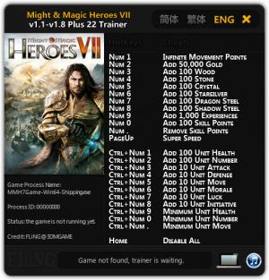 Might and Magic Heroes 7 Trainer +22 v1.1 - v.1.8 : 64 Bit {FLiNG}
