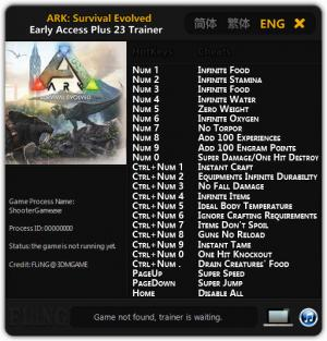ARK: Survival Evolved Trainer +23 Early Access 21.05.2016 {FLiNG}