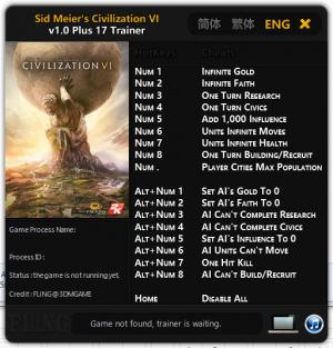 Sid Meier's Civilization 6 Trainer +17 v1.0 {FLiNG}