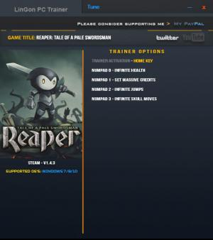 Reaper: Tale of a Pale Swordsman Trainer for PC game version 1.4.3