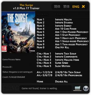 The Surge Trainer for PC game version 1.0