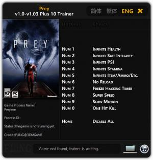 Prey 2017 Trainer for PC game version 1.00 - 1.03