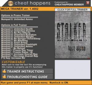 S.T.A.L.K.E.R.: Lost Alpha Trainer +16 v1.4002 (Cheat Happens)