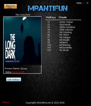 The Long Dark Trainer +11 v0.423 {MrAntiFun}