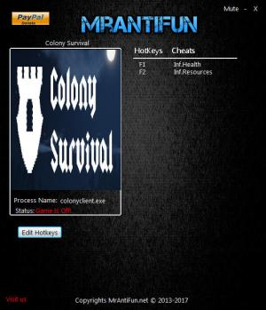 Colony Survival Trainer for PC game version 0.2.5