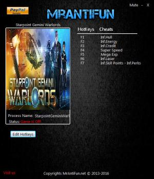 Starpoint Gemini Warlords Trainer for PC game version 1.300