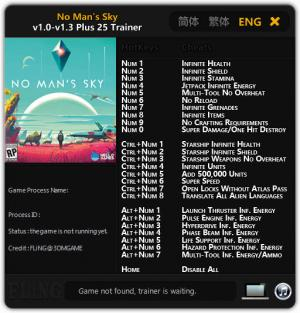 No Man's Sky Trainer for PC game version 1.0 - 1.3