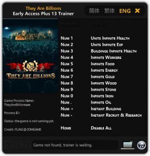 They Are Billions Trainer for PC game version Early Access Updated 2017.12.12