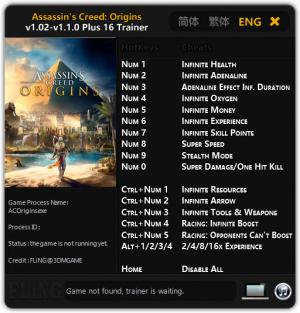Assassin's Creed: Origins Trainer for PC game version v1.02 - 1.1.0