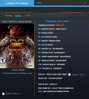 Street Fighter 5 Trainer for PC game version v3.002