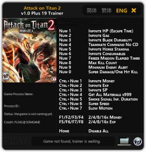 Attack on Titan 2 Trainer for PC game version  v1.0