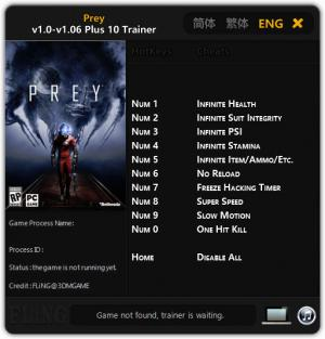 Prey 2017 Trainer for PC game version v1.00 - 1.06