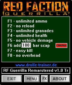 Red Faction Guerrilla Re-Mars-tered Trainer +8 v1.0 Update 3 {dRoLLe}