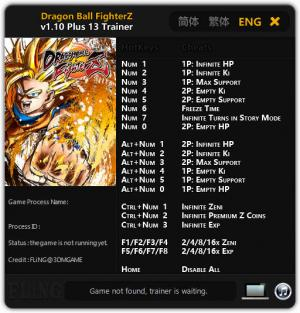 DRAGON BALL FighterZ Trainer for PC game version v1.10